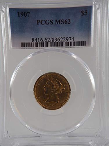 1907 P $5 Liberty Gold Half Eagle Gold (Pre-1933) MS 62 PCGS