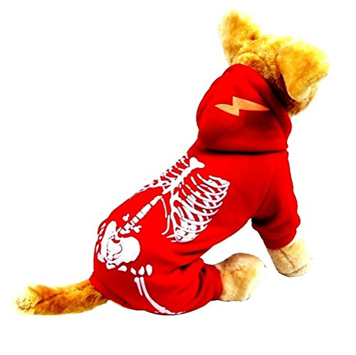 Freerun Pets Luminous Skeleton Outfits Dogs Halloween Costumes - Red, S (Halloween Costume Near Me)