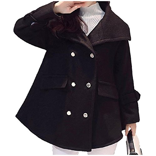 Zimaes-Women Comfy Double-breasted Cloak Thick Baggy Wool Blend Coat Black (Double Breasted Cloak)
