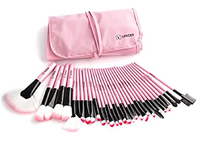 VANDER Set Of 32 Pieces Professional Makeup Brush Pink Foundation Eye Shadows Lipsticks Powder Make Up Brushes Tools W/ Bag Pincel Maquiagem Gift Lady