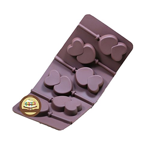 SK 1Pcs 6-Capacity Silicone Chocolate Lollipop Mold with Sticks DIY Fondant Mould for Cake - Faces Shape Heart