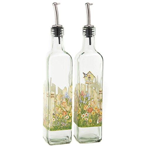 (CEDAR HOME Olive Oil Bottle Set Glass Dispenser Vinegar Cruet 17oz. with Stainless Steel Leak Proof Pourer Spout for Cooking or Salad Dressing, 2 Pack, Yellow)