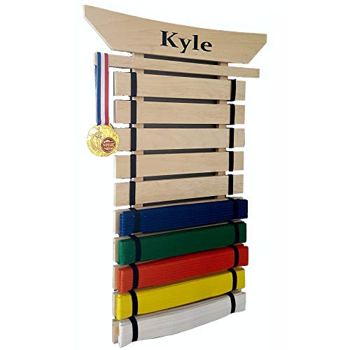 Martial Arts Belt Displays - RenKata Personalized Taekwondo Belt Display for Martial Arts Belts (10 Level)