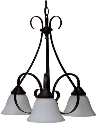 Boston Harbor F3-3C3L 8275638 Dimmable Chandelier, 3 60 13 W Medium A19 Cfl Lamp, Chain Hanging, Glass Shade