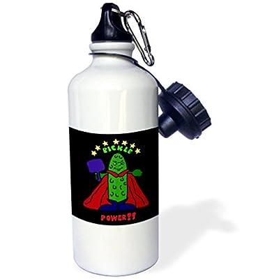 Funny Pickleball Super Hero Dessin animé Pickle Sports Bouteille d'eau en acier inoxydable Bouteille d'eau pour femme homme enfants 400ml