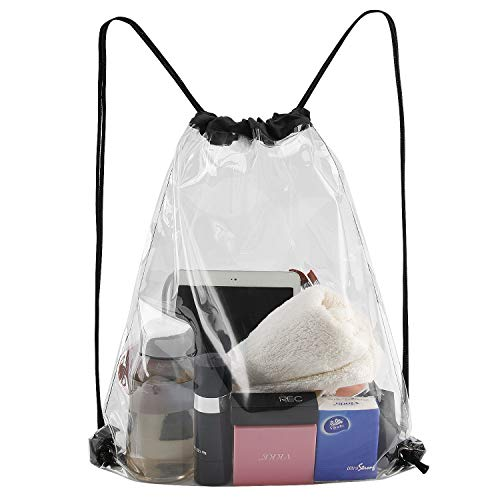 Clear Drawstring Bag, Waterproof PVC Transparent Backpack - Stadium Security Approved (Black) ()