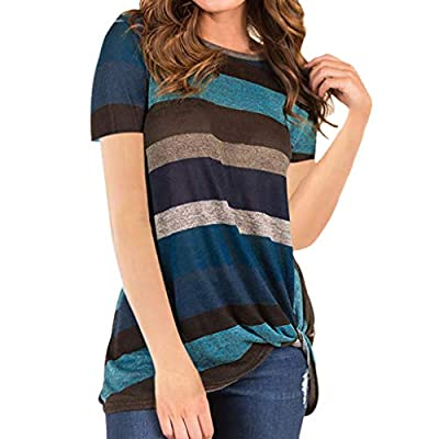 iYYVV Womens Casual Colorful Stripe T Shirts Twist Knot Tunic Tops Blouse Shirt