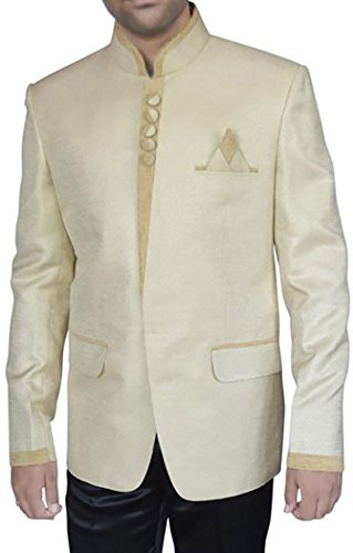INMONARCH Mens Ivory Jute 3 Pc Jodhpuri Suit Wedding ivory JO287S38 from INMONARCH