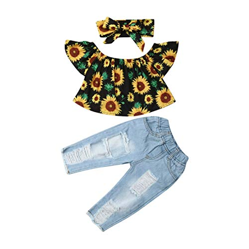- Newborn Kids Baby Girls Sunflower Off Shoulder Tops Ruffle Sleeve+Ripped Denim Long Pants+Headband Outfits Set Toddler Clothes (Black Sunflower+Blue, 6-12 Months)