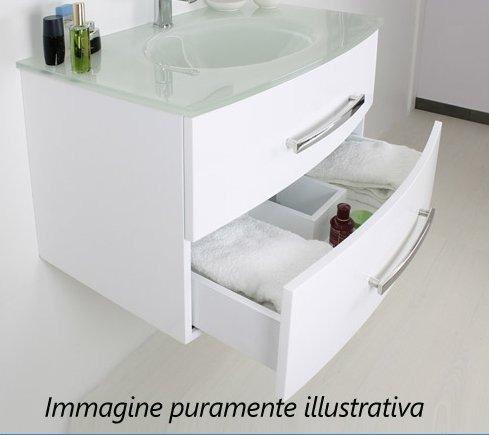 Mobile Arredo Bagno da 100 cm con lavabo in cristallo nero bianco ...