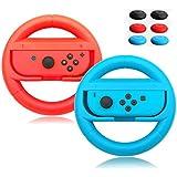 AcmeThink Wear-Resistant Comfort Grips for Nintendo Switch Joy Cons Controller,Steering Wheel Game Handle for Nintendo Switch,2 Pack with 6 Handle Remote Sensing Mushroom Head Silicone Caps(Red +Blue)