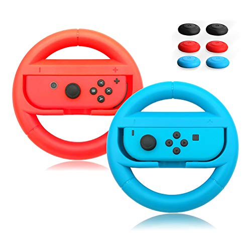 (ACMETHINK Wear-Resistant Comfort Grips for Nintendo Switch Joy Cons Controller,Steering Wheel Game Handle for Nintendo Switch,2 Pack with 6 Handle Remote Sensing Mushroom Head Silicone Caps(Red +Blue))