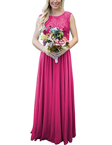 LIZAIA Lace Applique Long Bridesmaid Dresses Chiffon Maxi Prom Evening Gowns Formal Dress Fuchsia US8