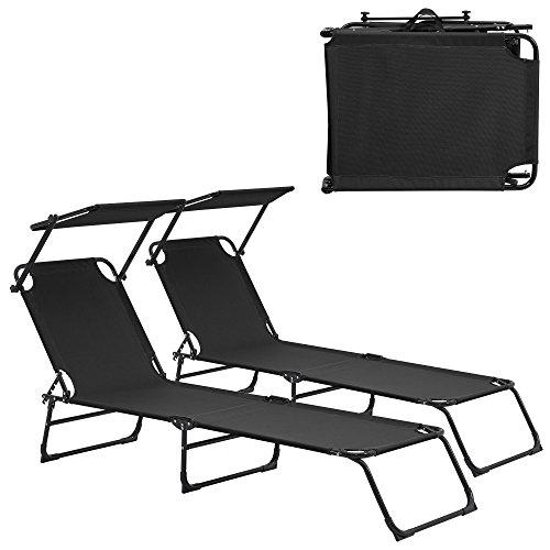 [casa.pro] Set de 2 tumbonas plegables 190cm negras con parasol hamaca de acero para playa, jardín y piscina