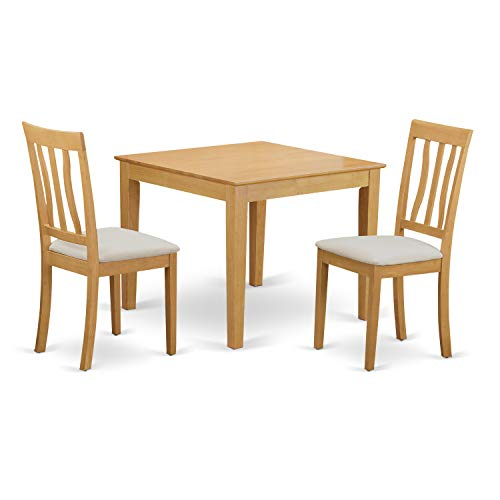 East West Furniture OXAN3-OAK-C 3 Piece Table and 2 Chair Set