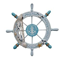 Mediterranean Style Wood Ship Wheel Wall Hanging Decoration Craft Ornamental Art Nautical Decor Vintage Home Decorative