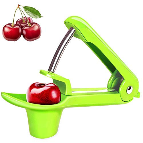 Cherry Cup - Cherry Pitter, YISSCEN Cherry Olive Seed Remover Tool with Food-Grade Silicone Cup, Heavy-Duty Cherry Stoner/Cherry Core Remover/Oliver Pitter with Space-Saving Lock Design (Green)