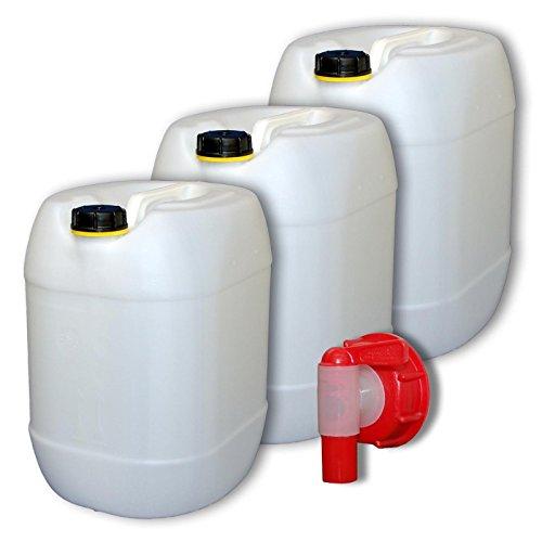 3 x 30 L Kanister mit Deckel + ein Zapfhahn natur Trinkwasser (3x22001+1x22010)