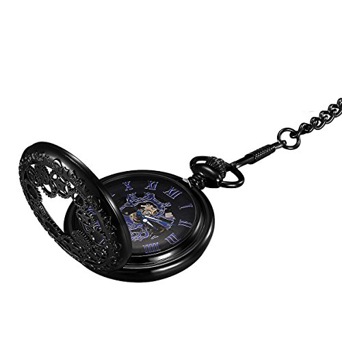 LYMFHCH Steampunk Blue Hands Scale Mechanical Skeleton Pocket Watch with Chain As Xmas Fathers Day Gift by LYMFHCH (Image #8)