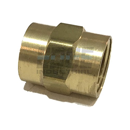"EDGE INDUSTRIAL Brass Coupling 1/2"" Female NPT FNPT Fuel / AIR/ Water / Oil/ Gas WOG (Qty 01)"