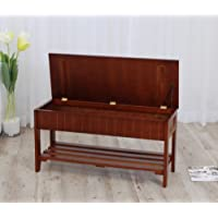 Legacy Decor Solid Wood Shoe Bench Rack with Storage Walnut Finish