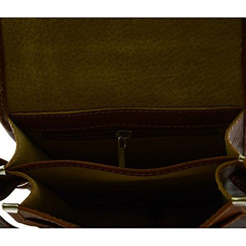 Borsello Uomo In Pelle Vera 2 Scomparti Colore Cognac - Pelletteria Toscana Made In Italy - Borsa Uomo