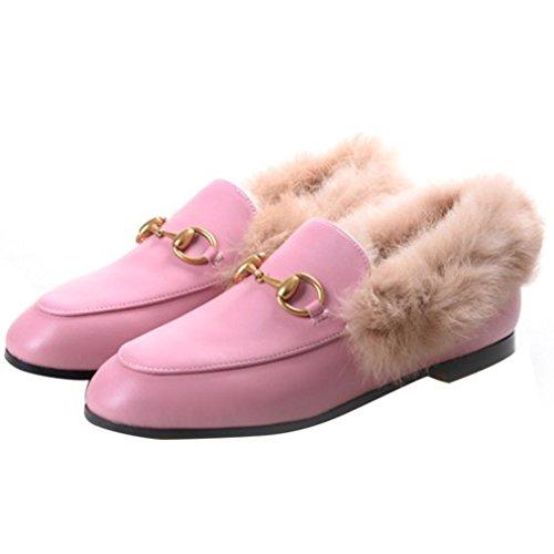 Enmayer Dames Zwart Retro Fashion Loafers Ronde Neus Op Platte Outdoor Slippers Met Harige En Gesp Roze # 1