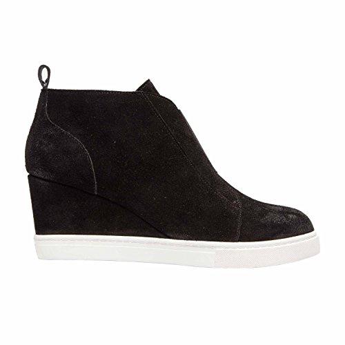 Linea Paolo Felicia | Womens Platform Wedge Bootie Sneaker Leder Of Suède Zwart Split Suede