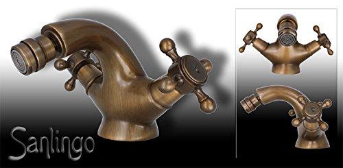 Retro Design Bidet Kreuzgriff Armatur Sanlingo Antik Messing ALEXANDRA