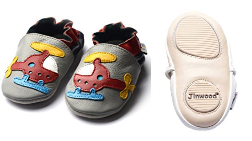 Jinwood designed by amsomo - HELICOPTER grey - mini shoes - Hubschrauber - Hausschuhe - Lederpuschen - Krabbelschuhe Grau
