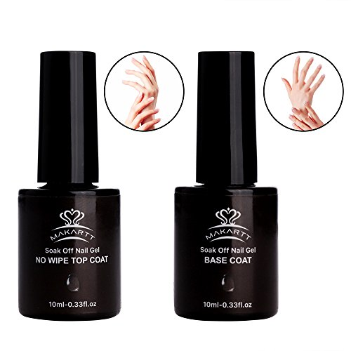 MAKARTT Gel Nail Polish No Wipe Top and Base Coat Set Soak Off UV LED Gel Nail Lacquer – 2 x 10ml