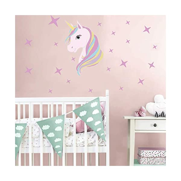 KUYUE Wall Decals Removable Unicorn Wall Stickers for Girls Decorations Bedroom Living Room Playroom Classroom 5