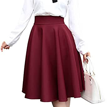 Yifen Women Plain Midi Swing Gruesas Faldas para el otoño y el ...