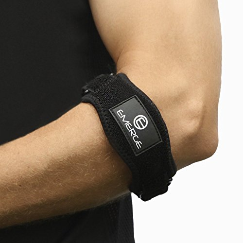 Tennis Elbow Brace By Emerge - The Perfect Elbow Brace and Strap For Tendonitis - Comfortable and Firm Adjustable Tendonitis Arm Band Support - Bandit Arm Brace