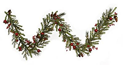 "By Vickerman 9' x 12"" Pre-lit Red Berry and Ball Ornament Mixed Pine Artificial Christmas Garland - Clear Lights"