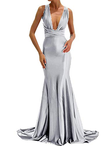 e17eae41e59 ... Mermaid Prom Dresses 2018 Backless Long Formal Evening Gown Silver Size  14.   