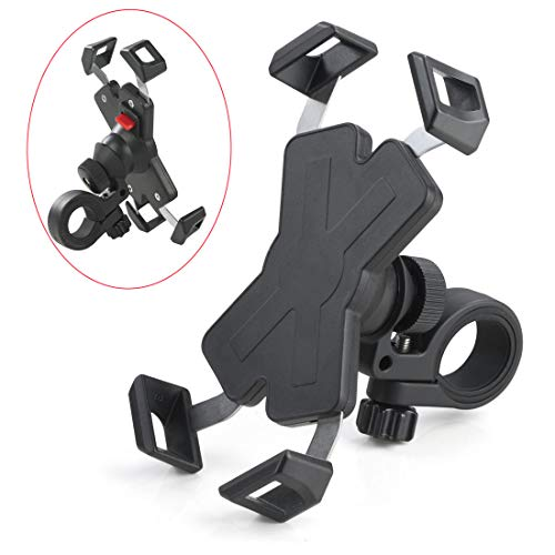 Automatic Shrinkage Bike/Motorcycle Phone Mount/Holder on Handlebar Flexible Stretch & 360 Degree Adjustment Suitable for iPhone/Android 4.0-6.5 inches Cellphones
