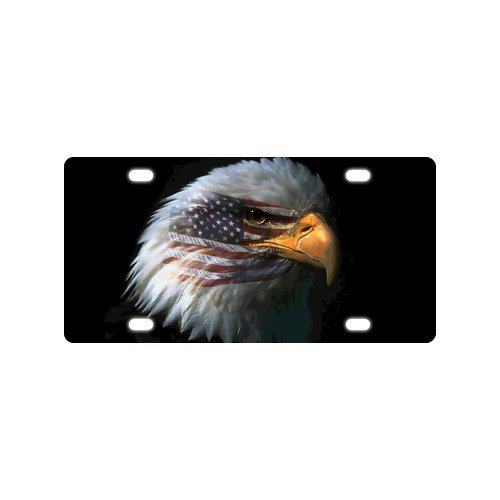 - Cool Design Bald Eagle American Flag Mental Car License Plate With 4 Holes - 12