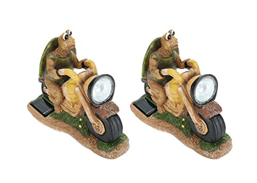 Aspen Creative 60901, Two Pack Set, Turtle on a Motorcycle Solar LED Accent Light Statue, 10″ Length For Sale