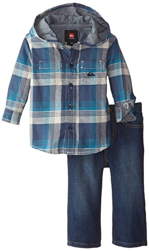 Quiksilver Baby Boys' Flannel Hooded Shirt with Jeans, Blue, 24 Months