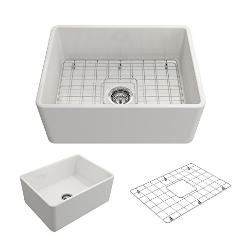Fireclay Apron Kitchen Bowl Sink (Classico Farmhouse Apron Front Fireclay 24 in. Single Bowl Kitchen Sink with Protective Bottom Grid and Strainer in White)