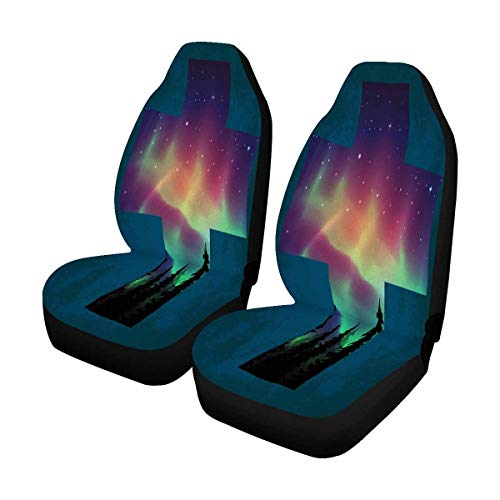 - INTERESTPRINT Aurora Borealis Cross Auto Seat Covers 2 pc, Entire Seat Protection, Car Front Seat Cushion for Pets Running Gym