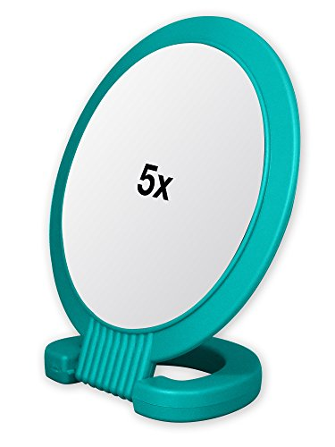 Double Sided Pedestal Mirror Stand - Vanity Round Mirror with 1x and 5x Magnification - Adjustable Handle and Portable Free-Standing Mirror for Travel, Shaving, Bathrrom, Tabletop, Makeup (Turquoise) (Pedestal Makeup Mirror)