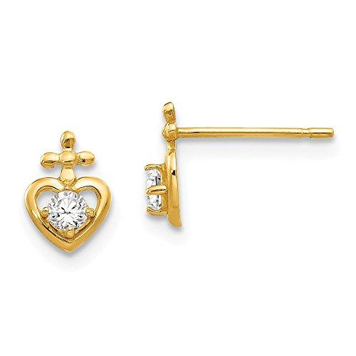 (Mia Diamonds 14k Solid Yellow Gold Madi K Cubic Zirconia Children Child Youth ren's Heart Cross Post Earrings (8mm x 6mm))