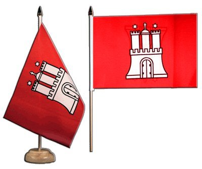 15 x 22 cm Flaggenfritze/® Tischflagge Deutschland Hamburg