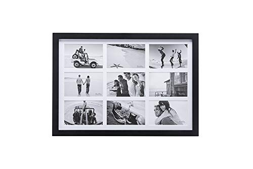 ( Malden International Designs Matted Linear Classic Wood Picture Frame, Black ( 4x6-Inches - 9op ))