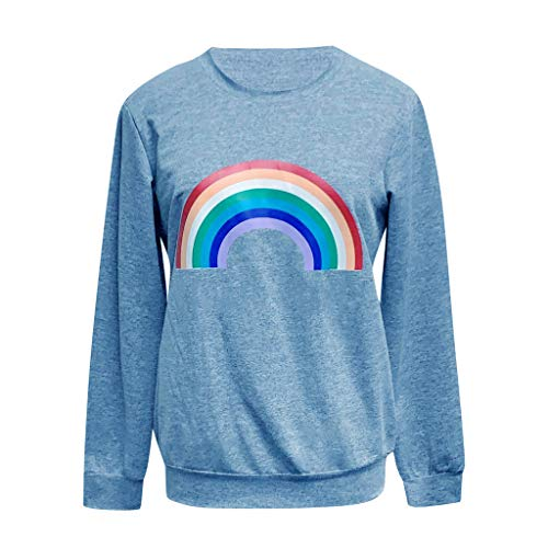 WILLBE Women Casual Long Sleeve Knitted Shirts Pullover Tops Short Sleeve Ladies Casual Rainbow Print Long Sleeve Top