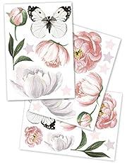 yabaduu Muursticker sticker 3 DIN A 4 vellen totaal 60x30cm aquarel dieren zelfklevend voor kinderkamer babykamer speelkamer meisjes jongen (Y037-1 bloemen)