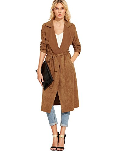Suede Two Pocket Coat (ROMWE Women's Outwear Longline Lapel Suede Self Tie Duster Jacket Trench Coat Cardigan With Pockets Brown S)
