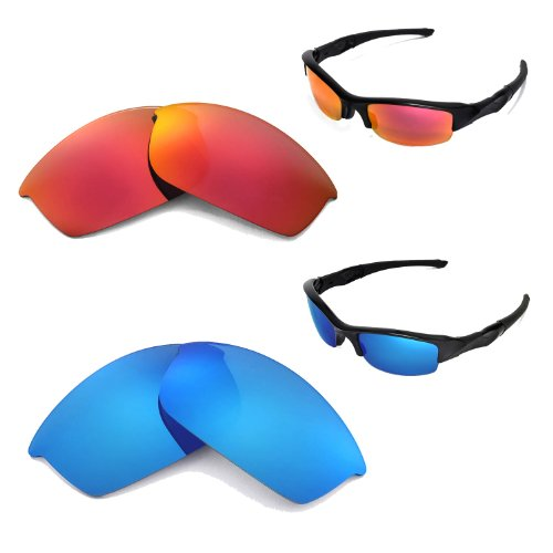 Walleva New Polarized Ice Blue + Fire Red Lenses For Oakley Flak Jacket